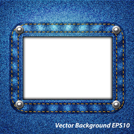 Jeans frame on a white background Vector