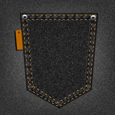 Zwarte zak op een jeans achtergrond