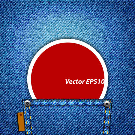A red label in a jeans pocket Vector