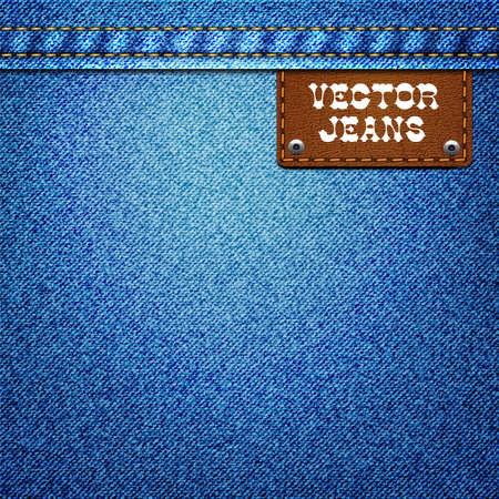 leather label: Jeans background with a leather label
