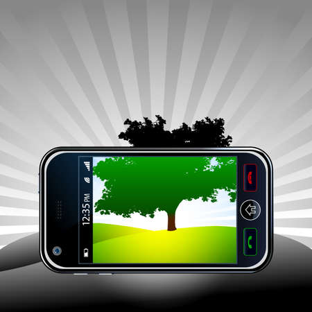Vector mobile phone take a picture of a panorama photo