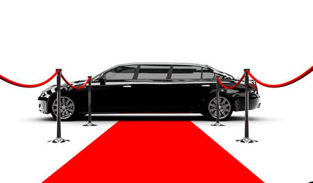 A black elegant car with a red carpet photo