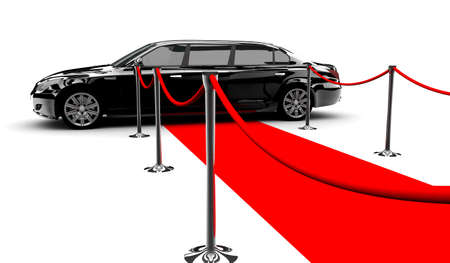 A black elegant car with a red carpet