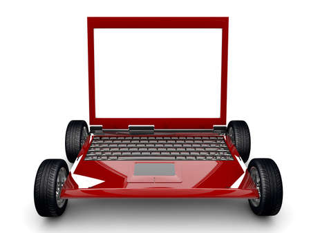 A Laptop with tyres isolated on a white background