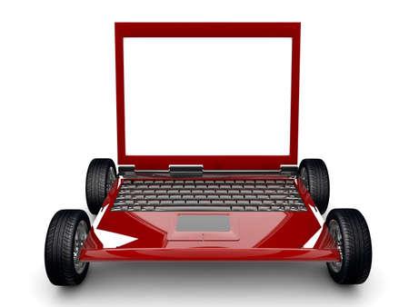 Un Computer Portatile con pneumatici isolato su uno sfondo bianco