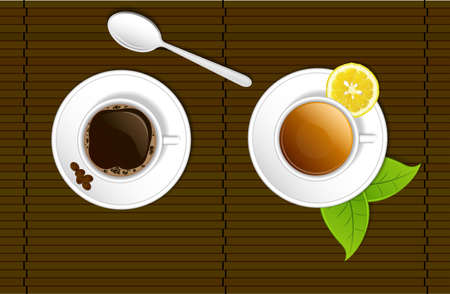 A cup of coffee and one of tea