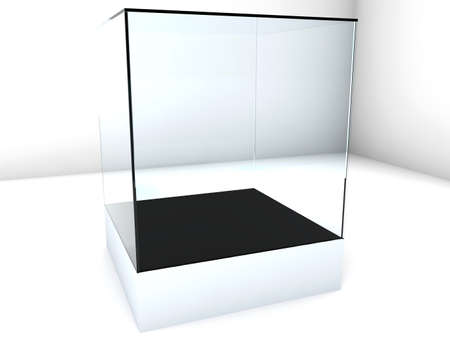 Empty glass showcase, 3d exhibition space Stock Photo - 14698778