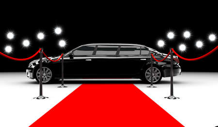 A black elegant car with a red carpet and flash photo