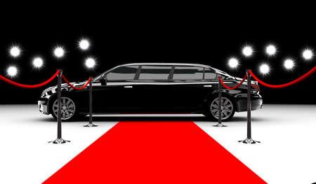 Un coche negro elegante con una alfombra roja y flash