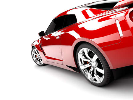 car tire: A generic sport elegant red car illuminated Stock Photo