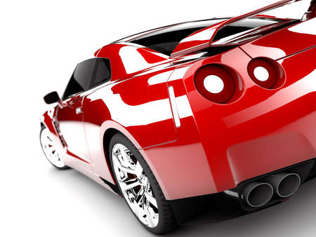 car wheel: A generic sport elegant red car illuminated Stock Photo