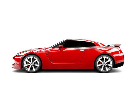 dream car: Un coche deportivo genérico elegante rojo iluminado