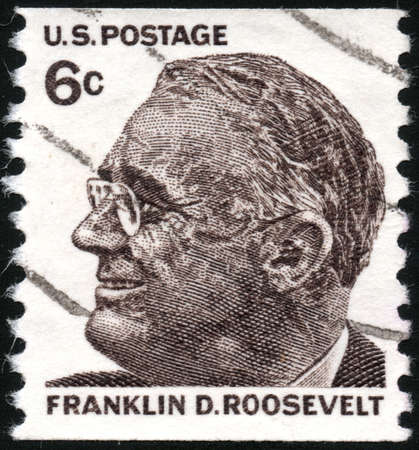 stempeln: USA - CIRCA 1965  A stamp printed in USA showing president Franklin Delano Roosevelt, circa 1965  Editorial