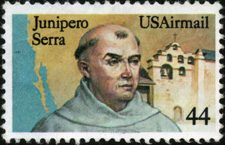 CIRCA 1985  A stamp printed in the USA showing Junipero Serra, circa 1985