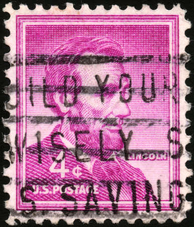 USA - CIRCA 1954  A stamp printed in USA from the  Liberty  issue shows the 16th President of the United States Abraham Lincoln, circa 1954