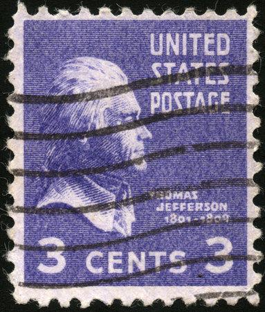 thomas: USA - CIRCA 1939  A stamp printed in USA shows President Thomas Jefferson, circa 1939