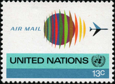 united nations:  CIRCA 1974  A stamp printed in the USA showing United nations illustration, circa 1974 Editorial