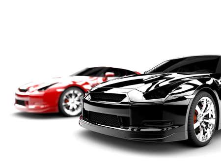 2 つの一般的なエレガントな車、赤いは、1 つの黒をスポーツします。 写真素材 - 14843959