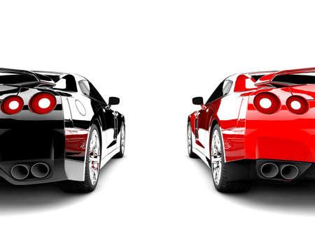 Due auto sportive generiche eleganti, uno rosso e uno nero Archivio Fotografico - 14843960