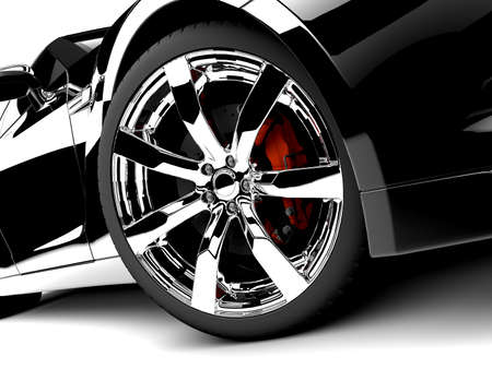 car showroom: A generic sport elegant black car illuminated