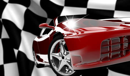 formula one: A red car on a checkered flag
