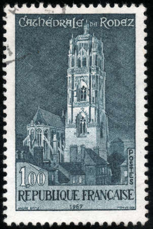 cathedrale:  CIRCA 1967  A stamp showing Cathedrale de Rodez, circa 1967