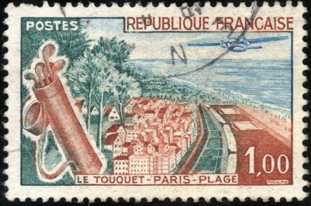 plage: A stamp showing Le Touquet Paris Plage en France
