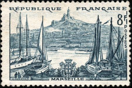 postage stamp frame: A stamp showing Marseille en France