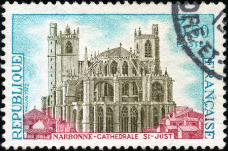 cathedrale:  CIRCA 1972  A stamp showing Narbonne Cathedrale St Just, circa 1972