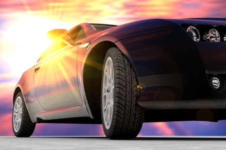 Ein schwarzes Auto vor mit einem Sonnenuntergang hinten gesehen Standard-Bild - 14992287