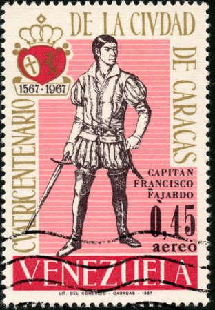 centenarian:  CIRCA 1967  A stamp printed in Venezuela showing Capitan Francisco Fajardo for the four hundred year old of caracas city, circa 1967 Stock Photo