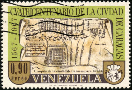 mapa de venezuela: CIRCA 1967 Un sello impreso en Venezuela que muestra el caracas