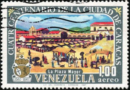 centenarian: CIRCA 1967 Un sello impreso en Venezuela que muestra el caracas