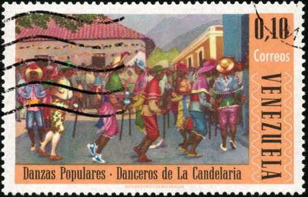 philatelic: CIRCA 1966  A stamp printed in Venezuela showing traditional venezuelan dance, circa 1966 Stock Photo