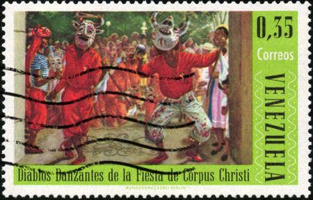 circa: CIRCA 1966  A stamp printed in Venezuela showing traditional venezuelan dance, circa 1966 Stock Photo