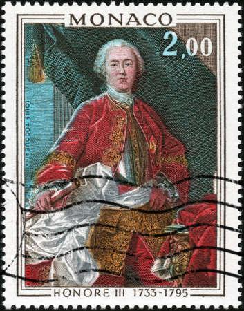 philatelic: CIRCA 1975  A stamp printed in Monaco showing Prince Honore III, circa 1975