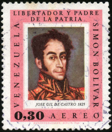 CIRCA 1967  A stamp printed in Venezuela showing the Simon Bolivar portrait, painted by Jose Gil de Castro, circa 1967