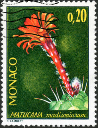 philately: CIRCA 1974  A stamp printed in Monaco showing a Matucana Madisoniarum, circa 1974 Stock Photo