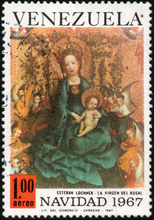 CIRCA 1967  A stamp printed in Venezuela showing La Virgen del Rosal painted by Esteban Lochner, circa 1967