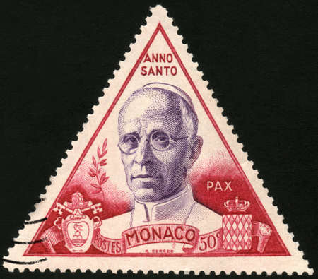 philatelic: CIRCA 1950  A stamp printed in Monaco showing Anno pax, circa 1950