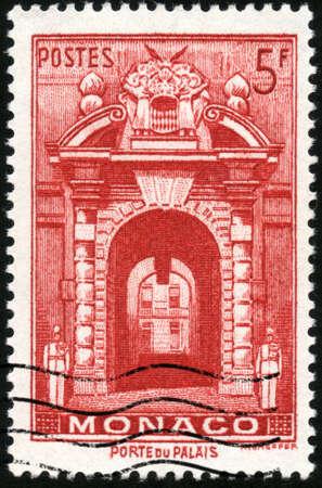 collectible: CIRCA 1959  A stamp printed in Monaco showing Porte du Palais, circa 1959 Stock Photo