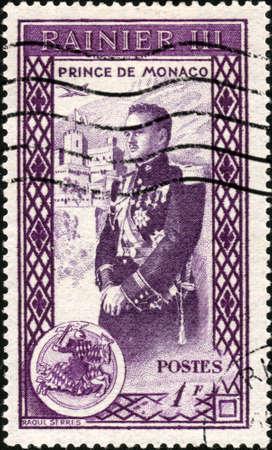 monaco: CIRCA 1950  A stamp printed in Monaco showing Prince Ranier of Monaco, circa 1950 Stock Photo