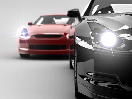 car showroom: Two generic sport elegant cars, one red and one black Stock Photo