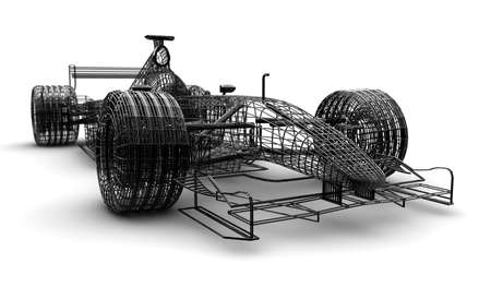 A wireframe formula race car on a white background