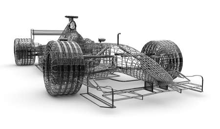 A wireframe formula 1 car on a white background