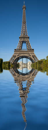 tour eiffel: VImage of Tour Eiffel reflected in water Stock Photo