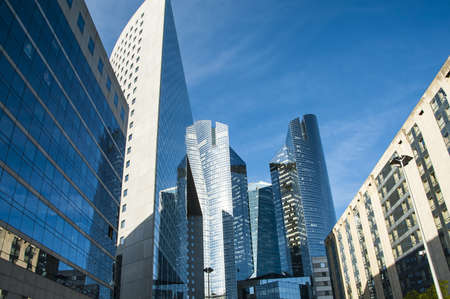 Modern skyscrapers in the urban area of Paris photo