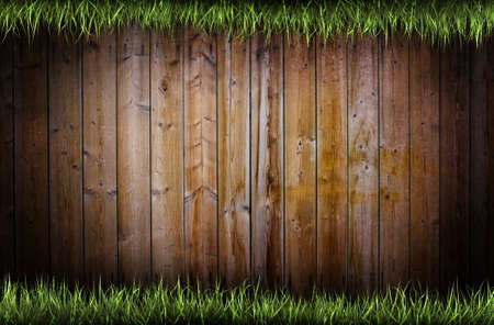 Frame of grass over a wooden background photo