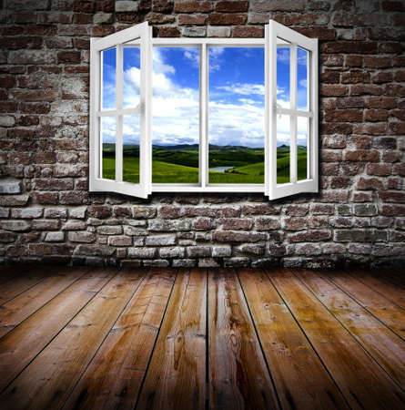 open windows: An open window in an old grunge room Stock Photo