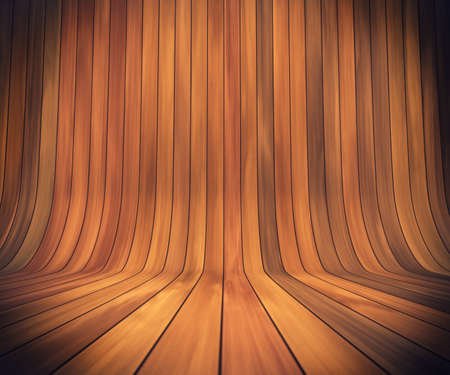 polished wood: An empty room with continuous wood from wall to floor Stock Photo